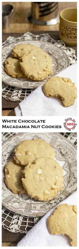 These White Chocolate Macadamia Nut Cookies are super fancy but still VERY easy to make. Give the gift of cookies to someone you love today | 365 Days of Easy Recipes
