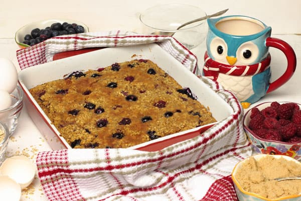Baked Berry Oatmeal with Raspberries & Blueberries that can be made the night before   365 Days of Easy Recipes