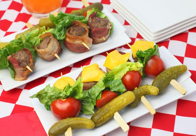 Bacon Cheeseburger Kabobs - hamburgers on a stick that make for fun party appetizers