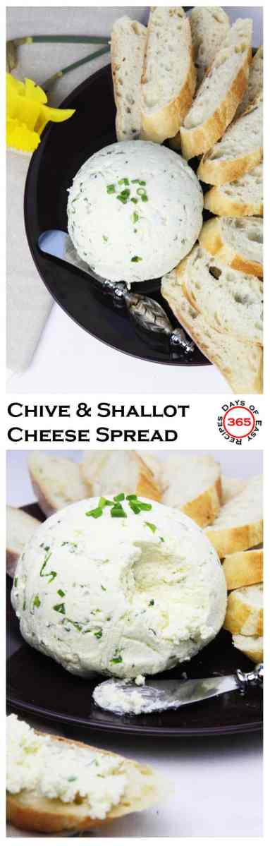 Chive and shallot cream cheese spread is perfect on crackers or bread. An easy party appetizer.