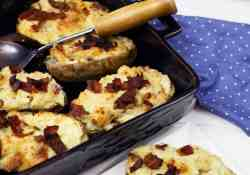 Creamy and delicious twice baked caesar potatoes with bacon and parmesan cheese. Perfect with a steak dinner