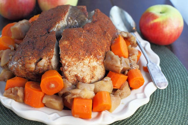 This Slow Cooker Pork Roast with apples makes for a perfectly easy Thanksgiving dinner or everyday meal.