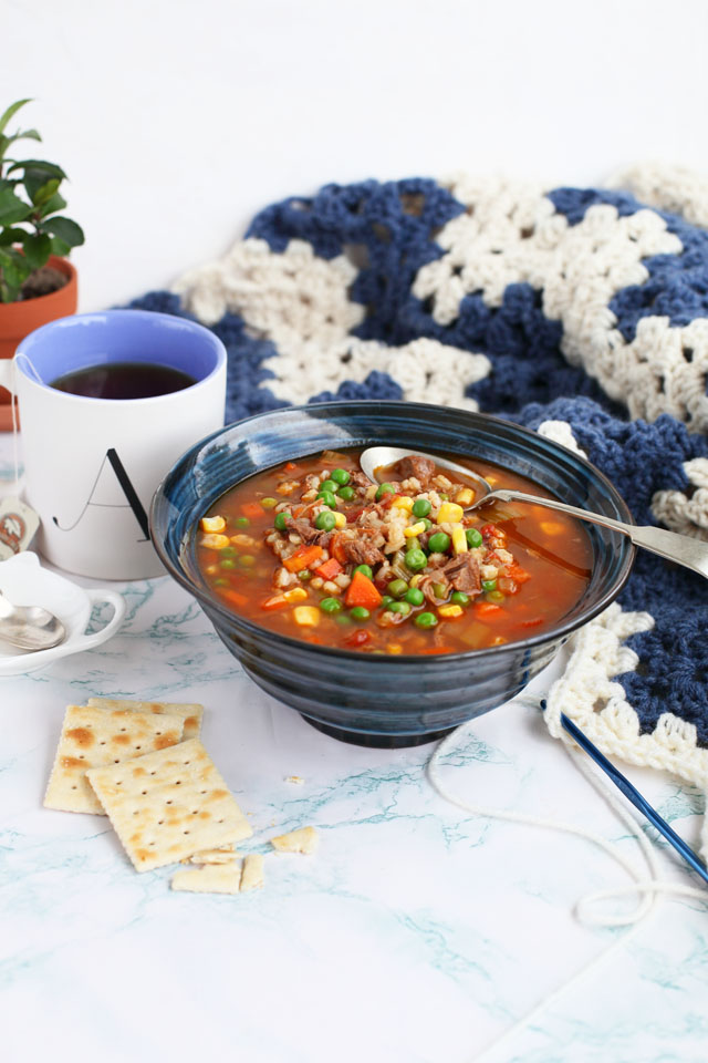 Beef Barley Vegetable Soup is a delicious hearty soup that's perfect for lunch or dinner. It's a great way to use up leftover beef from yesterday's roast and stocking your fridge with easy, grab and go meals during the week. Cooked on the stove or in the slow cooker, this soup will become a staple in your home.
