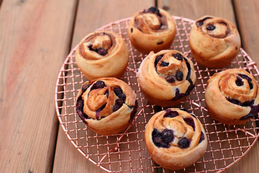 Fresh Blueberry Cinnamon Buns with an icing sugar glaze