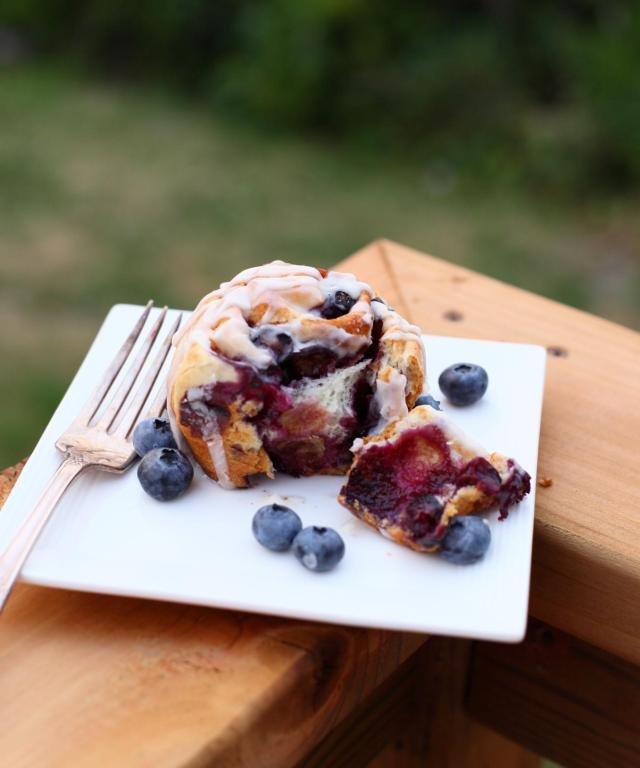 Fresh Blueberry Cinnamon Buns with an icing sugar glaze