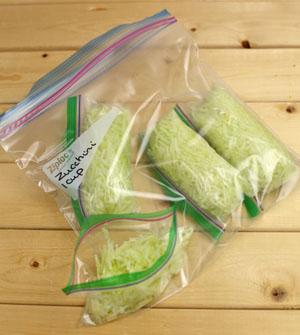 Shredded zucchini in bags