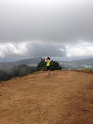 Emel taking pictures of the beautiful windward coast.