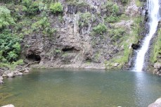 There were some caves across the pond.