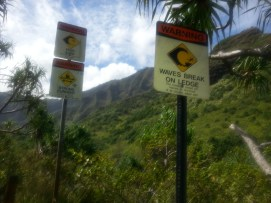 Looking at the river on the day we hiked, you would think these signs weren't necessary!