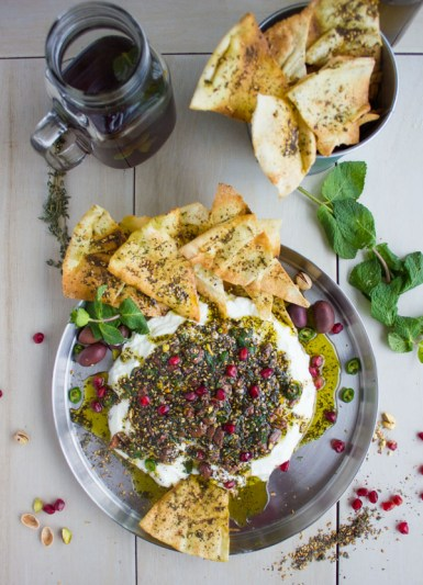 Labneh-Dip-With-Zaatar-Pistachio-Olive-Mint-Topping-11