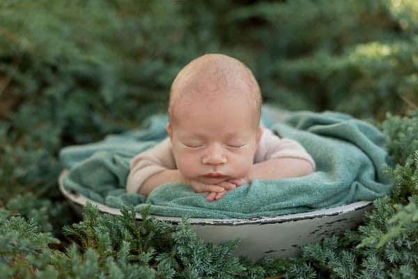 very small sleeping baby