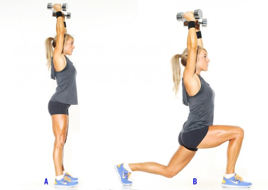 Lunges with dumbbells