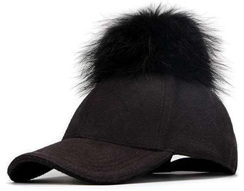 FurTalk Adjustable Large Real Fur Pom Pom Baseball Cap
