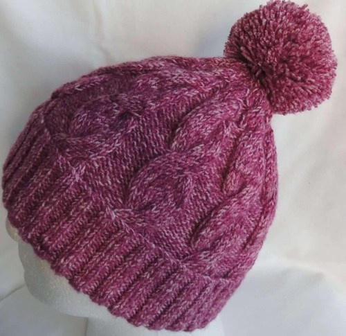 Raspberry Cable Knit Beanie