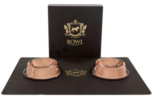 christmas gifts for your dog, Rose Gold Dog Food Bowls & Silicone Mat