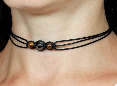 Handmade tiger eye choker necklace, valentines day gifts for her