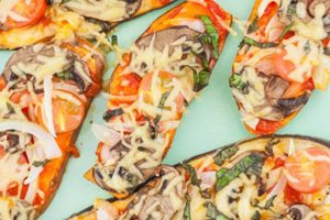 Ατομική πίτσα με βάση γλυκοπατάτας