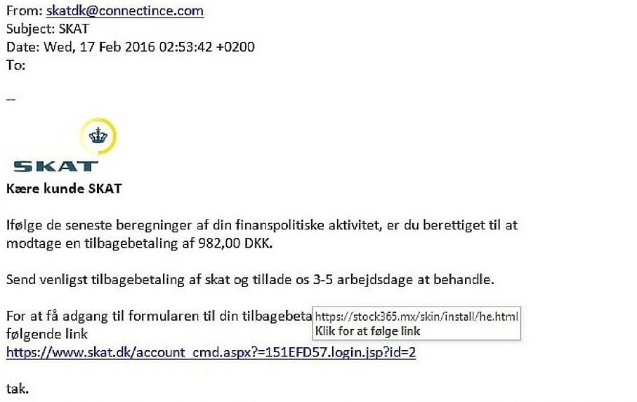 SKAT advarer mod e-mails som denne, der lover penge tilbage i skat, men som er snyd og humbug. Foto: SKAT.