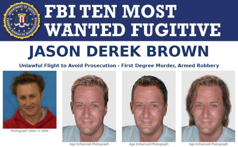 Jason Derek Brown er blandt FBIs mest eftersøgte - importøren af golfudstyr, der mistænkes for at have røvet en pengetransport. (Fra FBIs plakat)