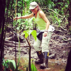 Hiking through the mud in Tortuguero