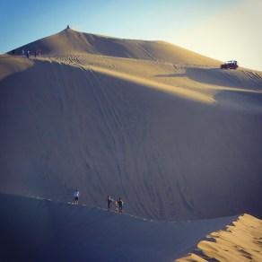 Sand boarding in the Ica Desert