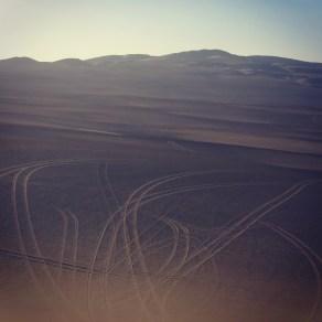 Dune buggy tracks in the Ica Desert