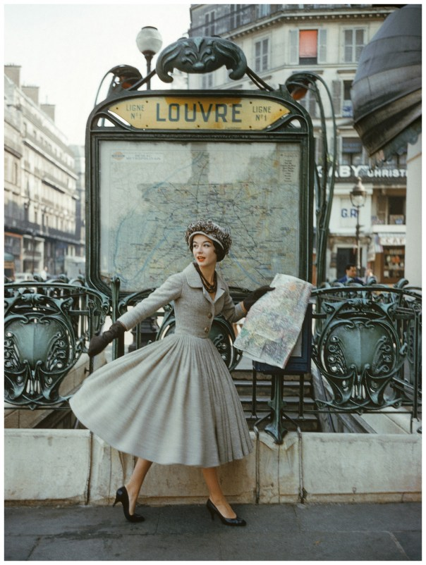 This image of a model wearing a gray Dior suit outside the Louvre Metro station was photographed by Mark Shaw in Paris in 1957 for LIFE magazineÕs September article ÒA Bright Young Look in ParisÓ