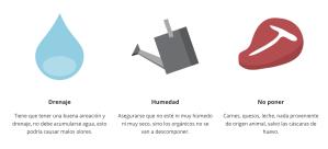 Drenaje Tiene que tener una buena aireación y drenaje, no debe acumularse agua, esto podría causar malos olores. Humedad Asegurarse que no esté ni muy húmedo ni muy seco, sino los orgánicos no se van a descomponer. No poner Carnes, quesos, leche, nada proveniente de origen animal, salvo las cáscaras de huevo.