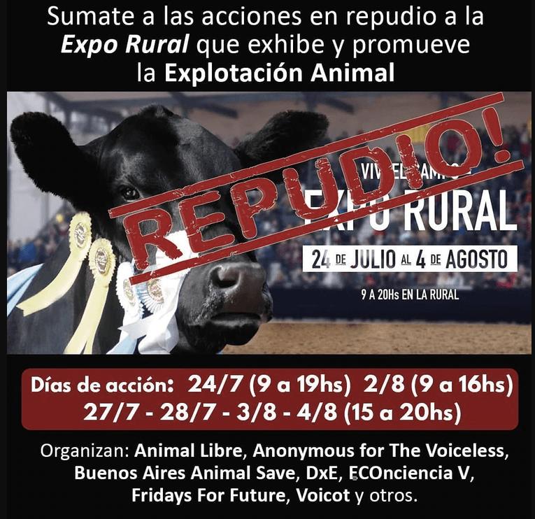 Una de las imágenes difundidas por la organización DXE Buenos Aires, cuatro días antes de la protesta de los activistas en la rural