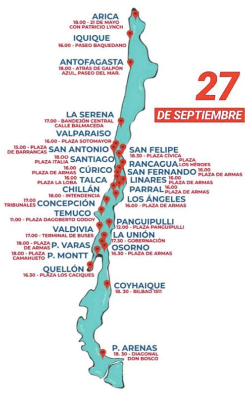 Mapa de la Marcha Global por el clima en Chile