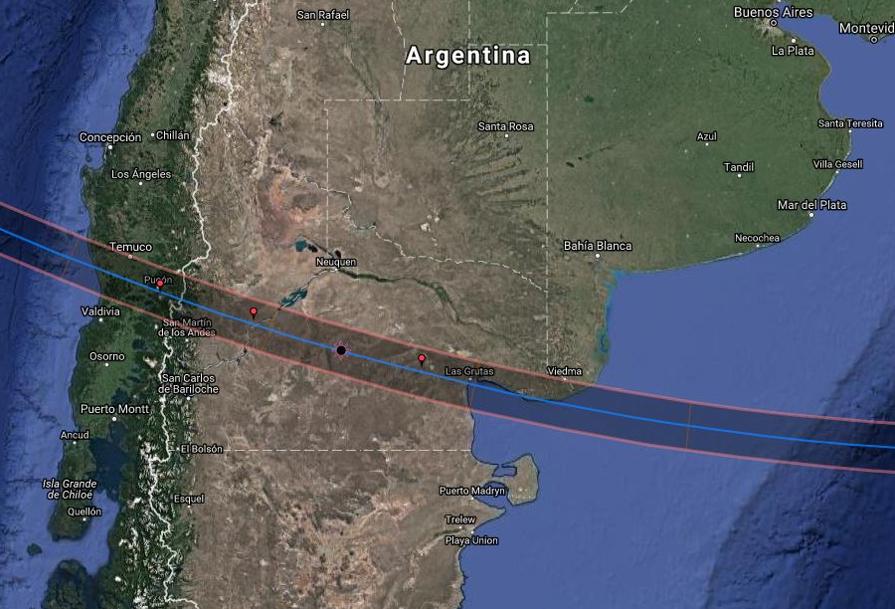 Franja de totalidad del eclipse del 14 de diciembre de 2020