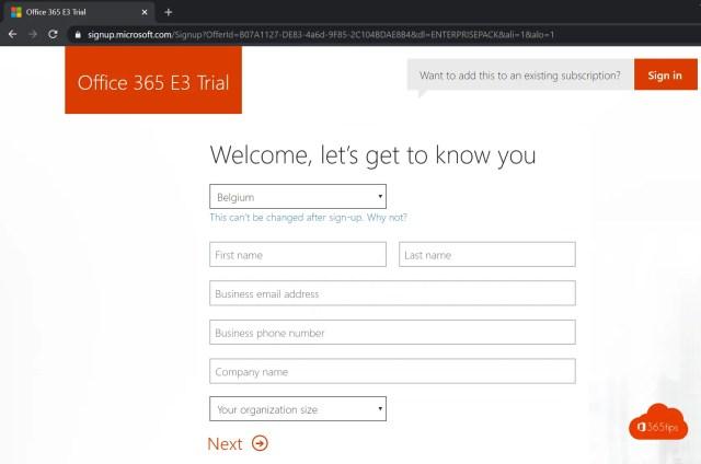Office 365 tenant aanmaken