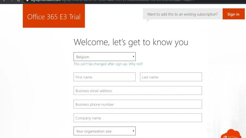 trial activeren Office 365