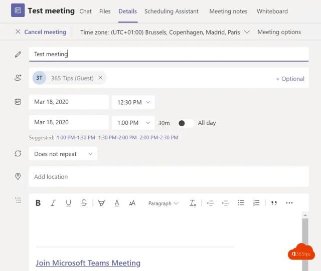 Scenario 3: Een meeting opzetten met externe gebruikers