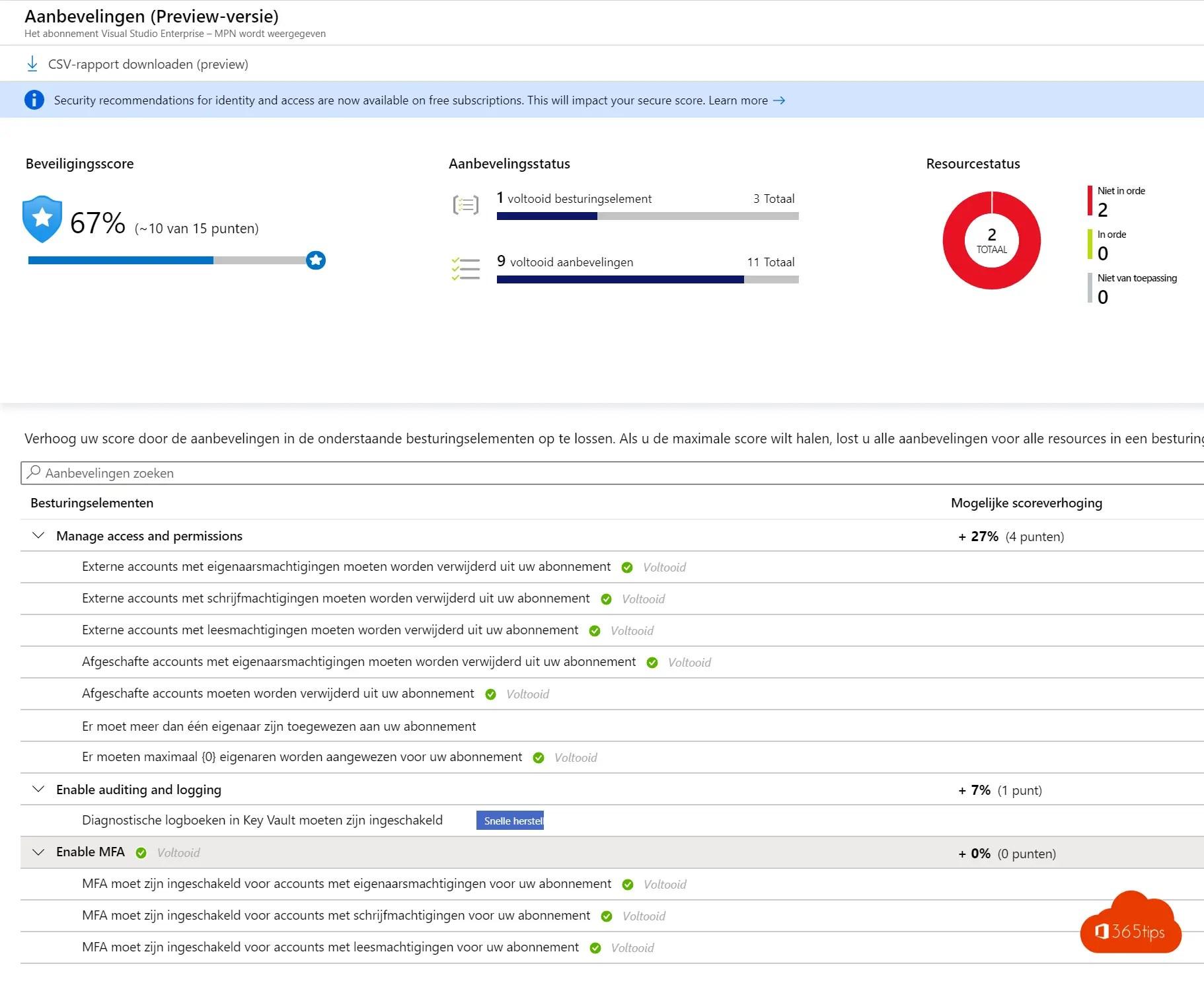 Secure Score voor Microsoft Azure activeren en gebruiken