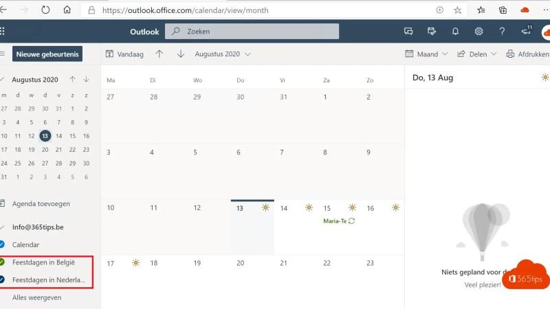 Vakantiedagen toevoegen aan Outlook Agenda