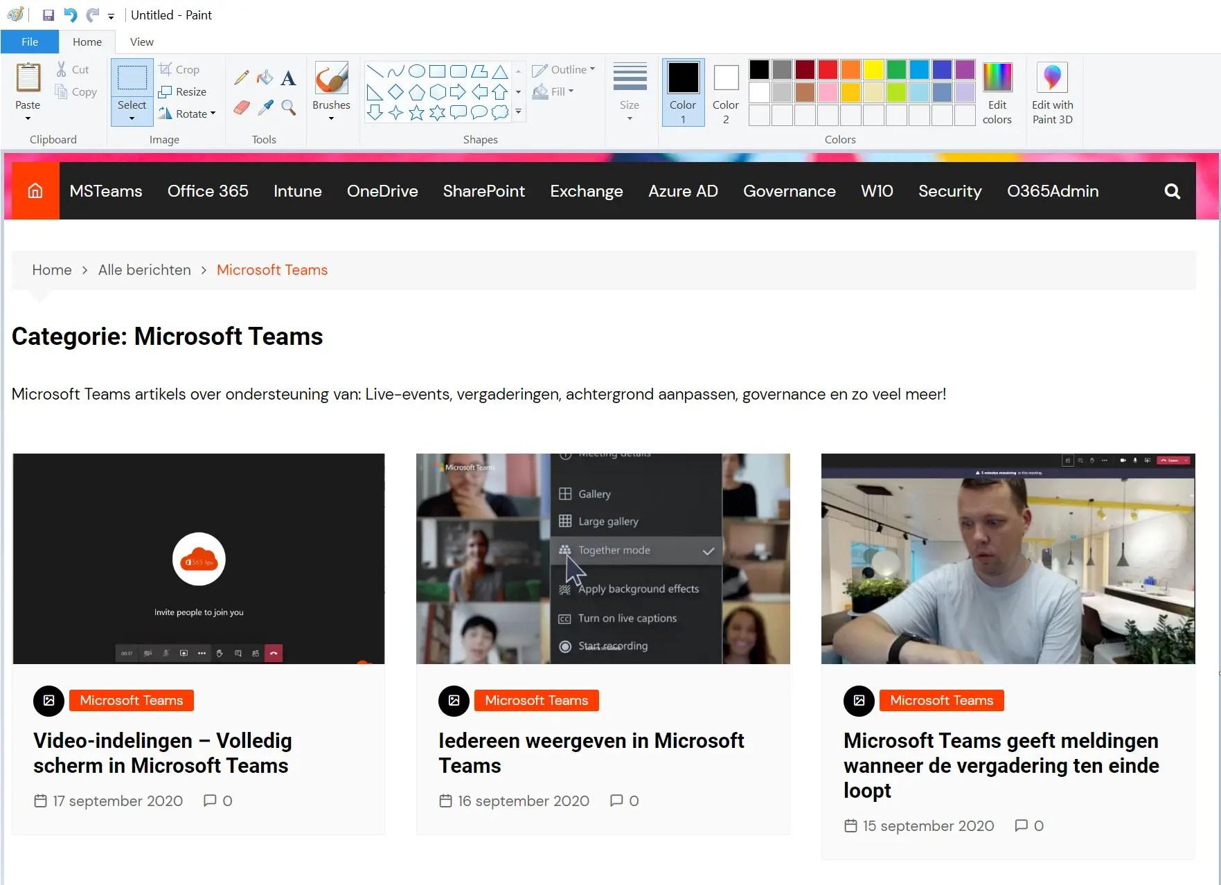 Sneltoetsen voor Paint in Windows 10
