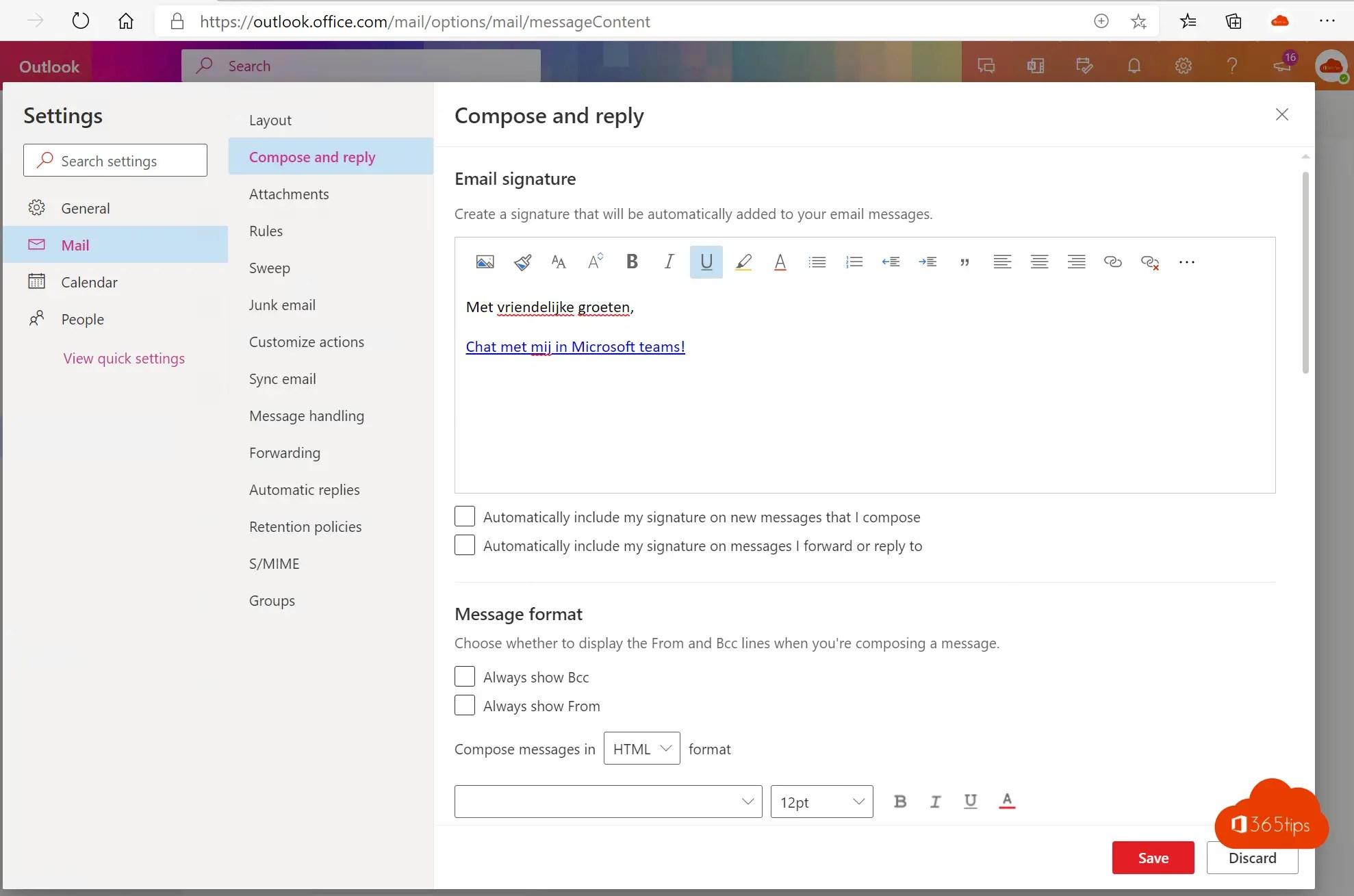 Voeg een Chat met mij in Teams toe aan je e-mailhandtekening in Outlook