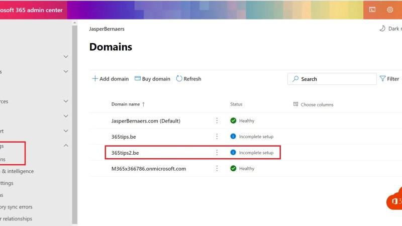 Een nieuw e-mail domein toevoegen aan Microsoft 365 – Admin Center – Tenant
