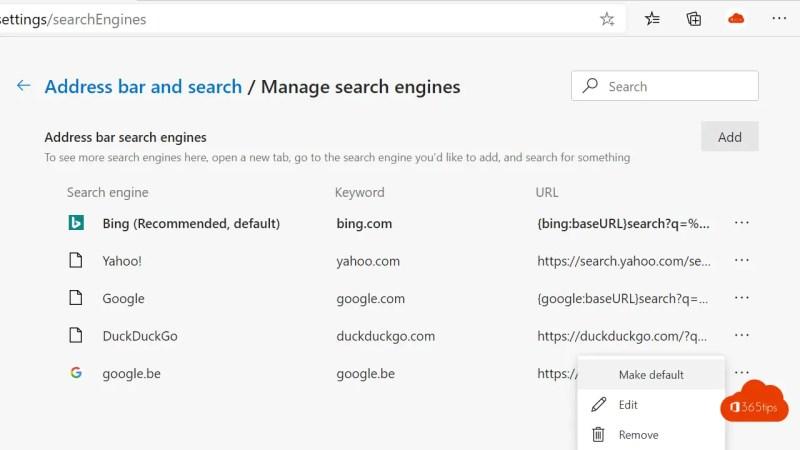 Google automatisch als standaard zoekmachine zetten in Edge Browser
