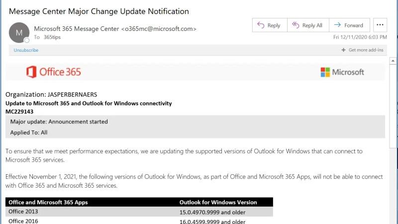 Outlook Connectiviteit Update voor Office 2013 en 2016 – EXO MC229143