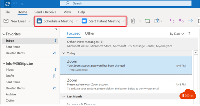 Schedule a meeting with Outlook - Zoom