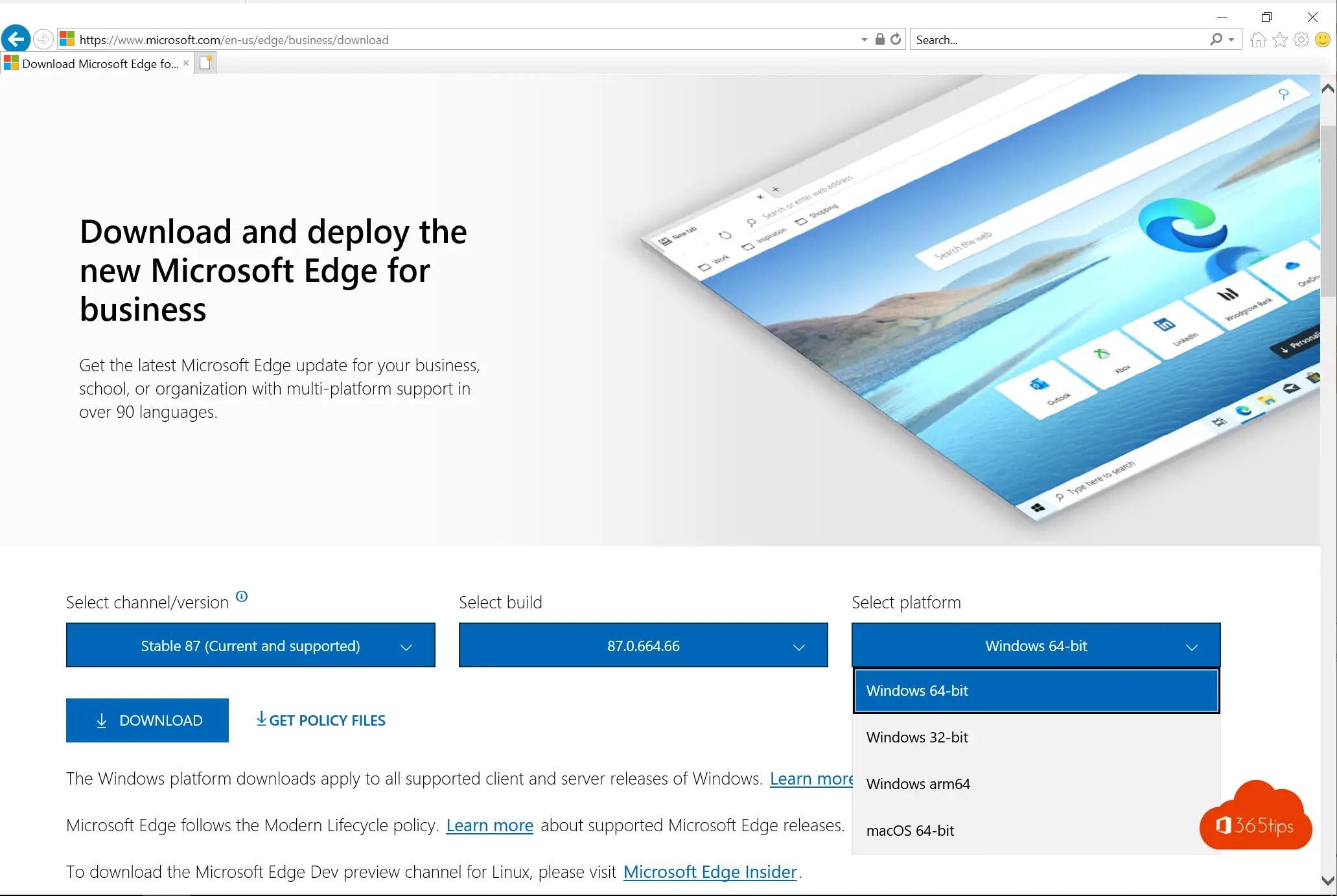 Download en deploy Microsoft Edge for business Server 2016 / 2019