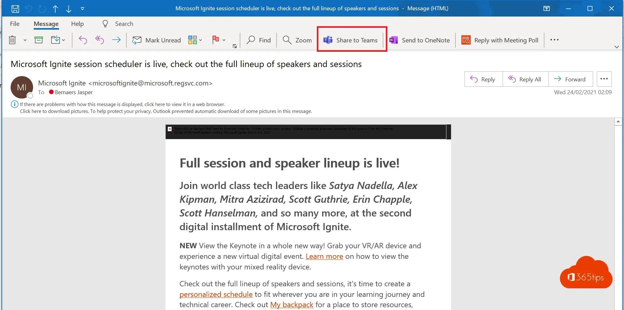 Hoe e-mail berichten invoegen van Microsoft Outlook naar Teams?