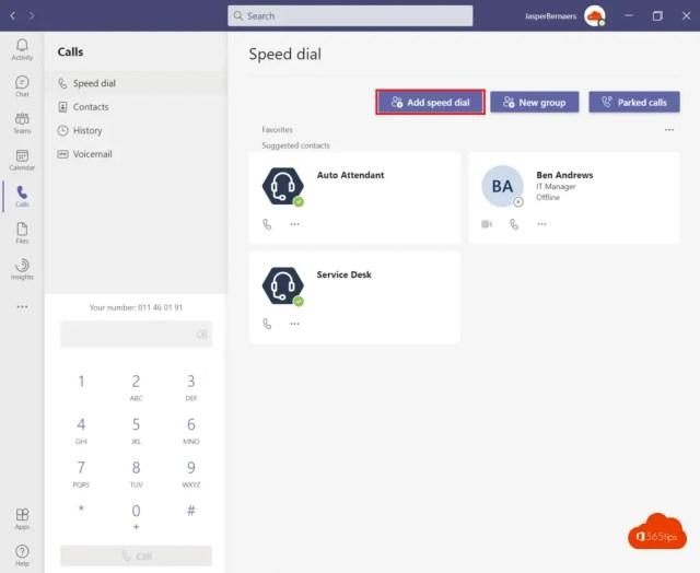 Speed dial menu Teams