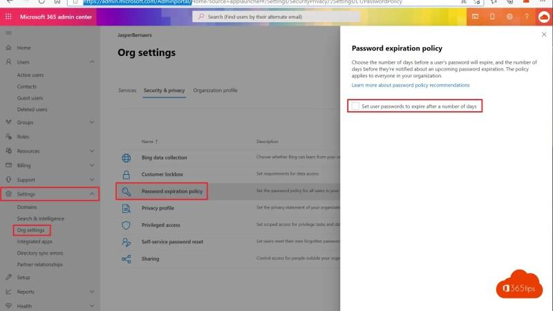 Beleid voor het verlopen van wachtwoorden instellen in Microsoft 365