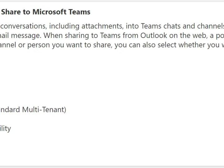 Je kan vanaf nu Outlook e-mails delen in Microsoft Teams – Roadmap