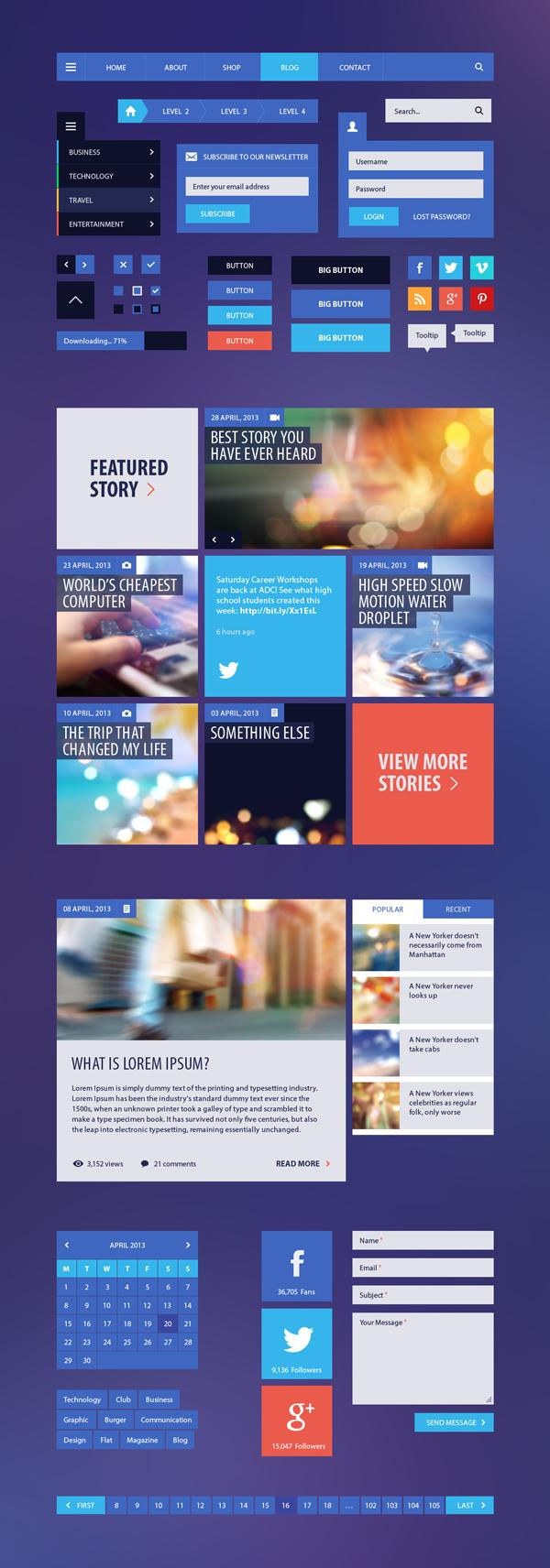 Blog Magazine Flat UI Kit