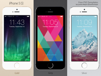 FREE Flat iPhone 5s Template