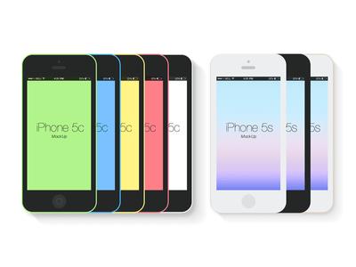 Free Flat iPhone 5c&5s Mockup